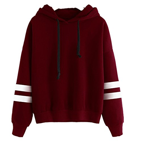 Culater® Womens manica lunga con cappuccio Felpa Jumper Pullover Camicia (M, Rosso)