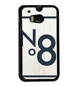 No. 8 2D Hard Polycarbonate Designer Back Case Cover for HTC One M8 :: HTC M8 :: HTC One M8 Eye :: HTC One M8 Dual Sim :: HTC One M8s