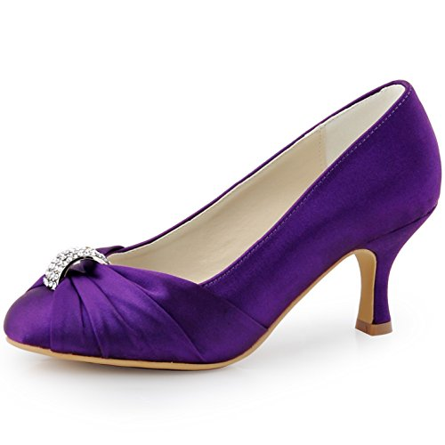 ElegantPark Women's Pumps Satin Rhinestones Closed Toe Mid Heel Wedding Party Dress Shoes Purple US 9