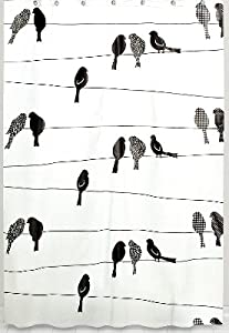 Birds On A Wire PEVA Bathroom Shower Curtain