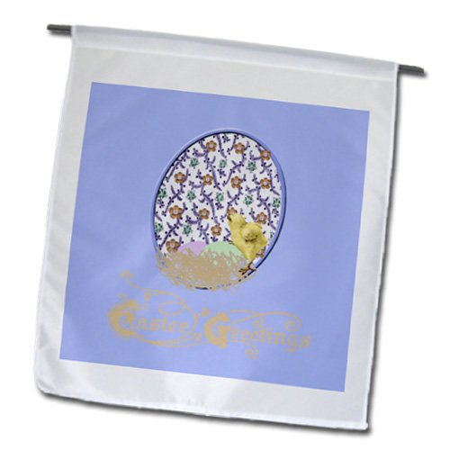 Fl_174112_1 Beverly Turner Easter Design And Photography - Little Yellow Chick, Nest, Eggs, Flowered Background, Purple, Yellow, Green - Flags - 12 X 18 Inch Garden Flag front-284814