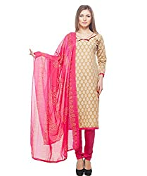 Divyaemporio Women'S Faux Cotton Pink And Beige Salwar Suits Dress Material