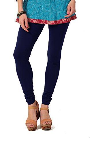 Women's solid Navy Cotton-Lycra Leggings/Churidars