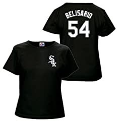 Ronald Belisario Chicago White Sox Black Ladies Player T-Shirt by Majestic by Majestic