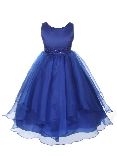 Girls Asymmetric Ruffles Satin Flower Dress, Royal Blue, 2, (Cb302-Rb-2) front-911824