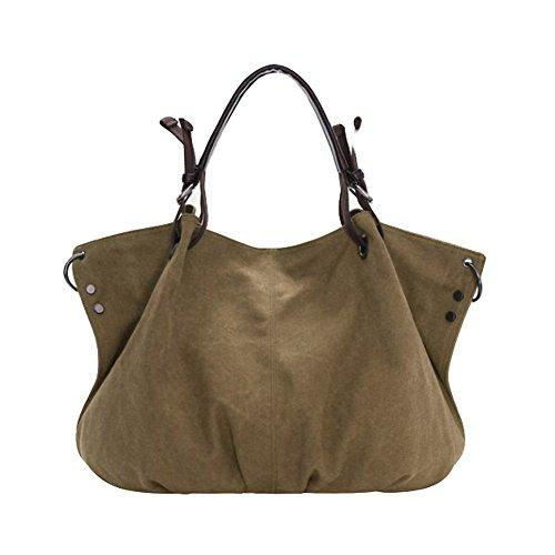 Nuova borsa da spalla da donna in tela, la borsa delle signore Crossbody Totes Vintage borsa (Cachi)