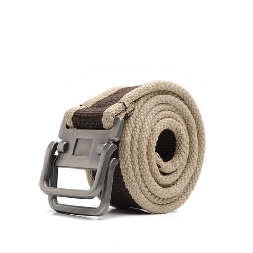 Mens Stylish Double Slide Buckle Sealed Tip Canvas Belt Coffee Color Khaki images