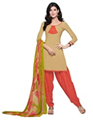 Inddus Women Copper & Red Crepe Unstitched Dress Material