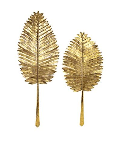 Set of 2 Milano Gold Leaf Wall Leaves As You See