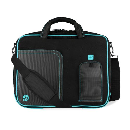 Bounding main Blue Aqua Pindar Ultra Durable 13 inch Clever Messenger bag for your Sony Vaio S Ultrabook with Extra Features: Reinforced persistent constructions, Velcro charging port to onus without removing device, extra pockets for charger and 8 Inch t