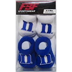 Buy Duke Blue Devils NCAA Newborn Bootie Socks(2Pair)-Blue and White-Size- 0-3 Months by For Bare Feet