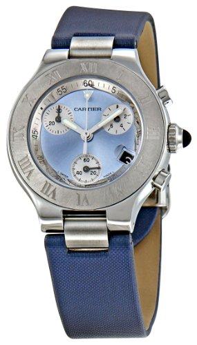 Cartier W1020013 - Orologio da polso da donna, cinturino in pelle colore blu
