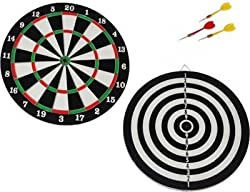 Double Sided Dart Board International Standard With 6 Darts Size 18