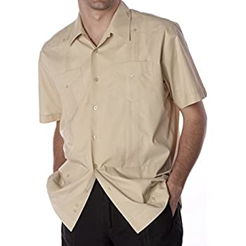 Basic Traditional Cotton Blend guayabera color beige.
