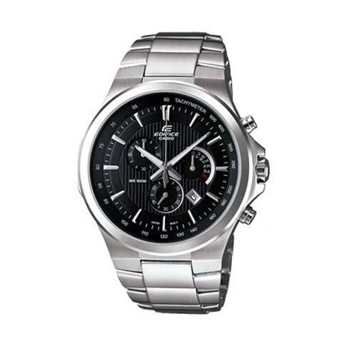 Casio Men's Analogue Watch EFR-500D-1AVDR with Black Dial and Stainless Steel Bracelet