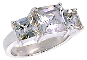 Sterling Silver 3.0 Carat Size Princess Cut Cubic Zirconia Bridal Ring (Available in Sizes L to T) size N
