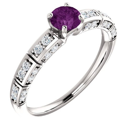 10K Platinum Round Alexandrite Approx. 4.50Mm , Engagement Ring Size: 9.75