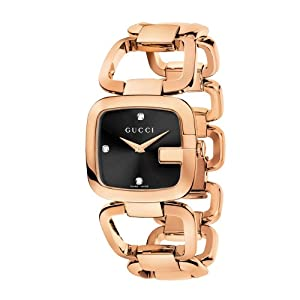 Gucci G-Gucci Collection Women's Quartz Watch with Black Dial Analogue Display and Rose Gold Plated Stainless Steel Bracelet YA125409