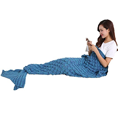 Handgemachte gestrickte Nixeendstück Decke, Warme Sofa Quilt Wohnzimmer Decke für Erwachsene und Kinder 190cm X90 Smart (74,8 in gutem Glauben 35,4 Zoll) (Blau)