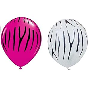 Set of 12 Hot Pink and White Zebra Stripe Balloons