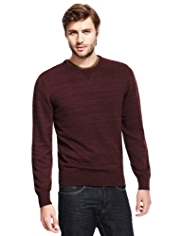 North Coast Cotton Rich Crew Neck Slub Jumper with Wool