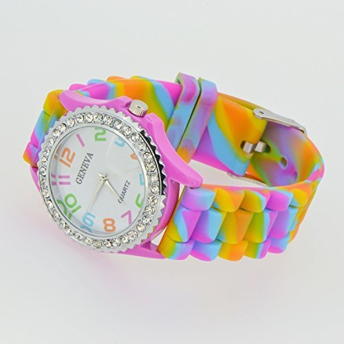 CHIC*MALL New Geneva Rainbow Crystal Rhinestone Watch Silicone Jelly Link Band