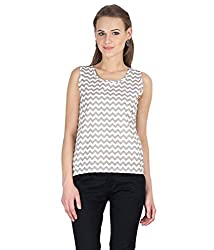 Hypernation Beige and White Color Printed Sleeveless Top For Women