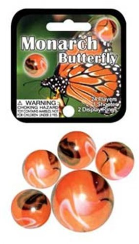 Mega Marbles - MONARCH BUTTERFLY MARBLES NET (1 Shooter Marble, 24 Player Marbles)