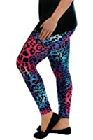 Nouvelle New Womens Leggings Ladies Plus Size Full Length Neon Leopard Multi Nouvelle