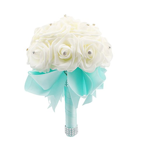 OurWarm® Mint Green Crystal Pearl Silk Rose Bridal Wedding Bouquet,Pack of 1