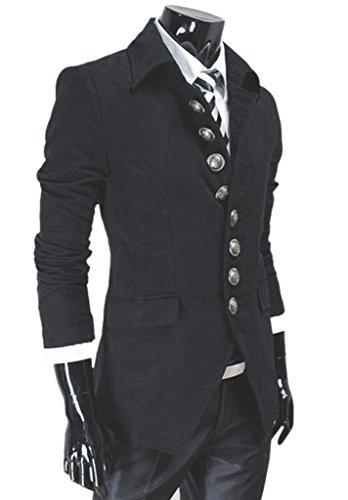 NQ Men's vintage Stylish Lapel Button Suit Coat Jacket Blazers L Black