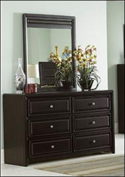 Abel Dresser & Mirror by Home Elegance in Espresso