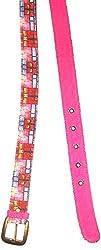 Jajv Women's Canvas Belts (VJ Acc Windo, Pink, M)