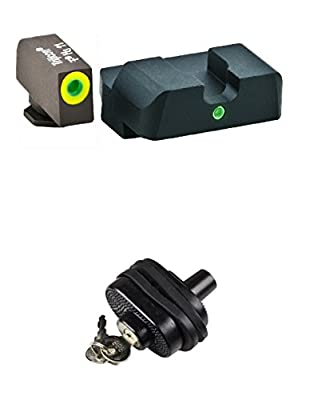 AmeriGlo GL-303 Pro i-Dot Glock 20,21,29,30,31,32,36 Pro i-Dot Set / ProGlo Front with single Rear + Ultimate Arms Gear Safety Trigger Lock by Ultimate Arms Gear