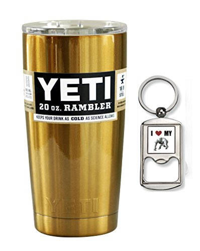 Yeti Custom Powder Coated Gold Stainless Steel 20oz (20 oz) Rambler Tumbler with Lid (Gold)