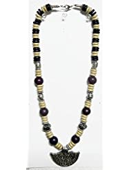 DollsofIndia Off-White And Dark Brown Wheel Bead Necklace - Wooden Bead - White