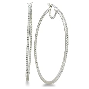 Click to buy 1 Carat Diamond Inside-Out Hoop Earrings in Sterling Silver from Amazon!