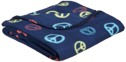 Northpoint 180 Gsm Retro Printed Fleece Throws, Peace Sign On Navy front-818438