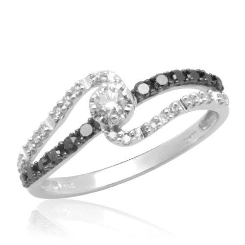 10k White Gold Black and White Diamond Promise Ring 1 4 cttw I J Color I3