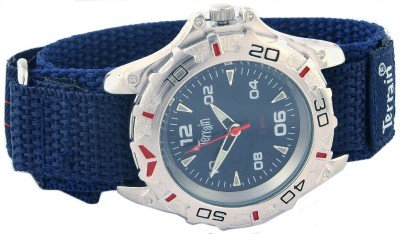 Mens Blue Terrain Boardrider Sports Surf Watch-Velcro Strap+Rotating Bezel-50m Water Resitant-1302G