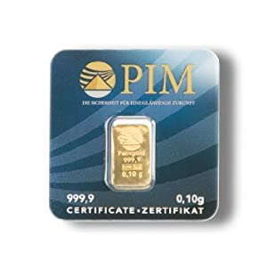 5 mal Gold Blisterkarte 0,1 Gramm PIM (Gold Barren 0,10 g 999,9 Feingold LBMA zertifiziert)