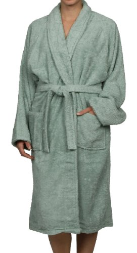 Superior Unisex Egyptian Terry Cotton Medium Bath Robe, Sage front-724511