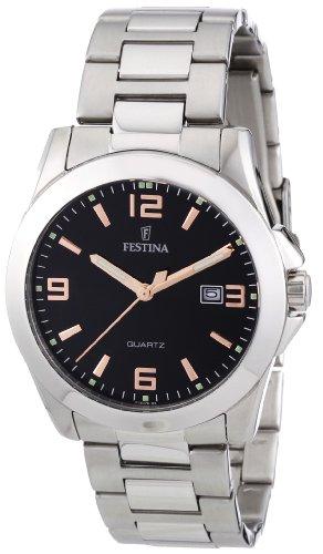 Festina F16376/6 - Reloj analógico de cuarzo para hombre con correa de acero inoxidable, color plateado