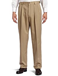 Haggar Men\'s Big-Tall Cool 18 Gabardine Hidden Expandable Waist Pleat Front Pant, British Khaki, 50x30