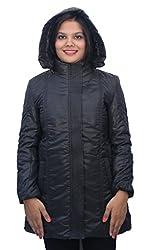 Romano Premium Black Hooded Warm Winter Zipper Jacket for Women