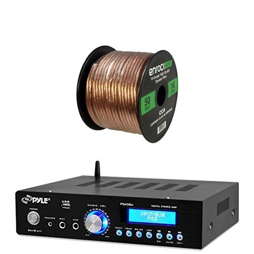 Pyle PDA5BU Amplifier Receiver Stereo, Bluetooth, AM/FM Radio, USB Flash Reader, Aux input (3.5mm) LCD Display, 200 Watt - Bundle With Enrock 50ft 16g Speaker Wire (Usb Room Accesories compare prices)