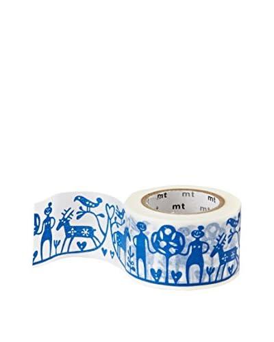mt Masking Tape Folk Art Patterned Decorative Tape, Blue/White, 32.8 ft.