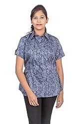 Juee Women's Printed Half Sleeve Casual Top (JU102SY2HFNBL) (Medium)