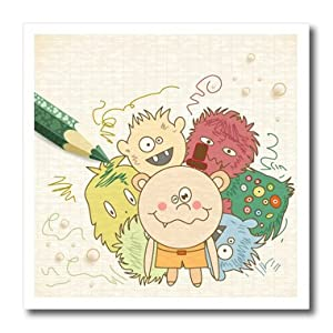 ht_104591_2 Dooni Designs Fantasy Designs - Cute Silly Drawing Monster Doodles WIth Colored Pencil Vector Illustration - Iron on Heat Transfers - 6x6 Iron on Heat Transfer for White Material