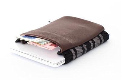 Kleiner dünner praktischer Geldbeutel, 5,5cm x 6,5 cm, echtes Leder - Space Wallet - Geldbörse, Portemonnaie, Brieftasche